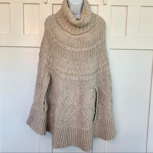 Cocogio Tan Wool Blend Sweater Poncho